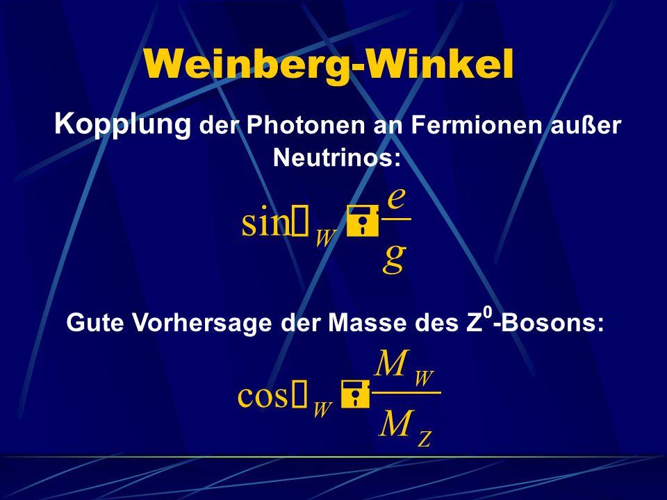 Weinberg-Winkel sin Ø W = e g cos Ø W = M W M Z Kopplung der Photonen an Fermionen außer Neutrinos: Gute Vorhersage der Masse des Z 0 -Bosons: