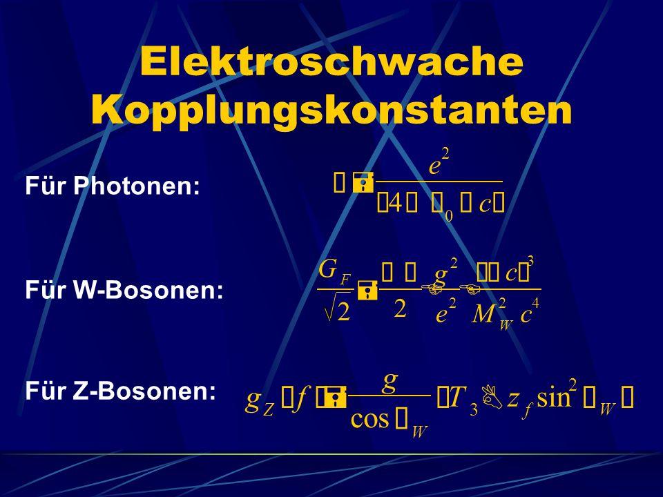 Elektroschwache Kopplungskonstanten Ñ= e 2 ¢ 4 àÕ 0 ö c £ G F 2 = àÑ 2 E g 2 e 2 E ¢ö c £ 3 M W 2 c 4 g Z ¢ f £= g cos Ø W ¢ T 3 B z f sin 2 Ø W £ Für Photonen: Für W-Bosonen: Für Z-Bosonen:
