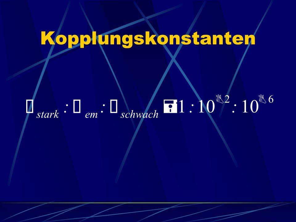 Kopplungskonstanten Ñ stark : Ñ em : Ñ schwach = 1:10 B 2 : B 6