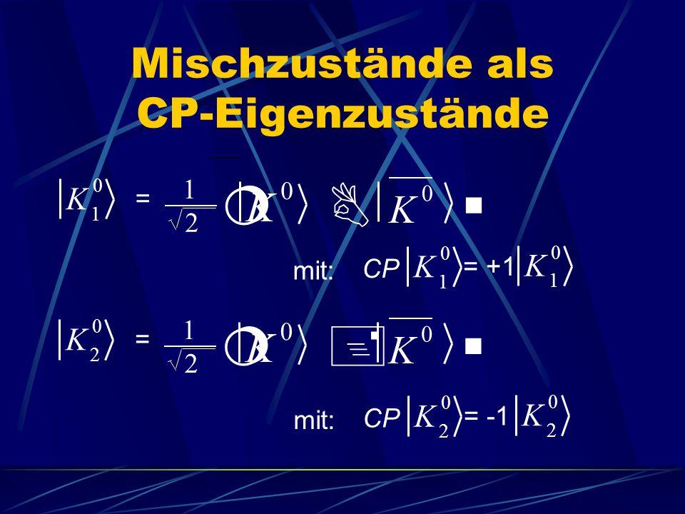Mischzustände als CP-Eigenzustände K 1 0 1 2 = ¦B§ K 0 K 0 1 2 = ¦+§ K 2 0 K 0 K 0 mit: K 2 0 K 2 0 CP = -1 mit: K 1 0 K 1 0 CP = +1