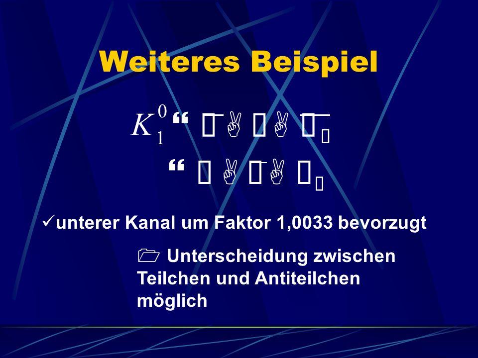Weiteres Beispiel K 1 0 }àAÜAÝ Ü }àAÜAÝ Ü unterer Kanal um Faktor 1,0033 bevorzugt Unterscheidung zwischen Teilchen und Antiteilchen möglich