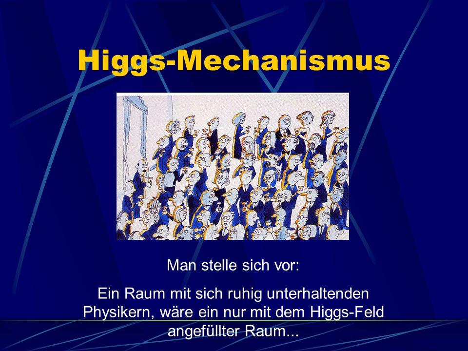Higgs-Mechanismus Man stelle sich vor: Ein Raum mit sich ruhig unterhaltenden Physikern, wäre ein nur mit dem Higgs-Feld angefüllter Raum...