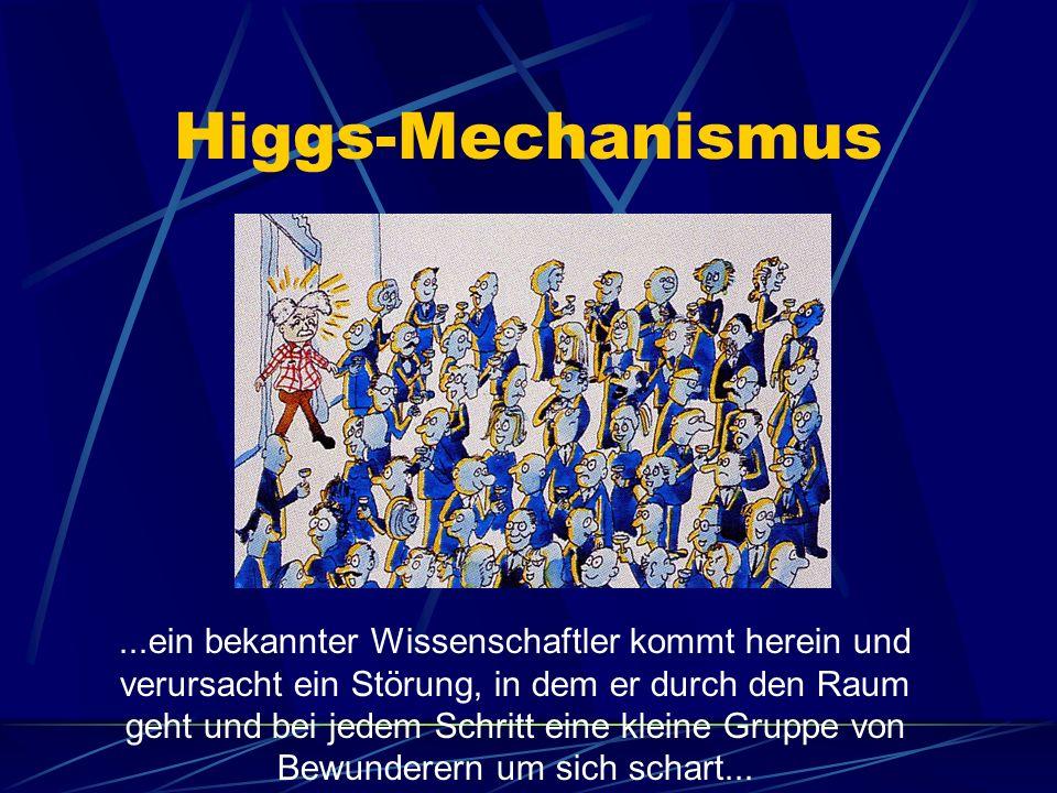 Higgs-Mechanismus...ein bekannter Wissenschaftler kommt herein und verursacht ein Störung, in dem er durch den Raum geht und bei jedem Schritt eine kleine Gruppe von Bewunderern um sich schart...