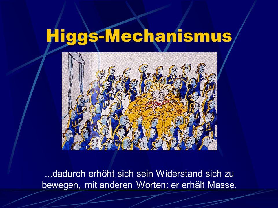 Higgs-Mechanismus...dadurch erhöht sich sein Widerstand sich zu bewegen, mit anderen Worten: er erhält Masse.