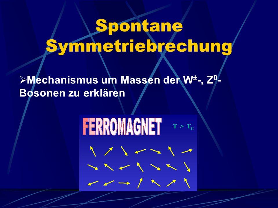 Spontane Symmetriebrechung Mechanismus um Massen der W ± -, Z 0 - Bosonen zu erklären
