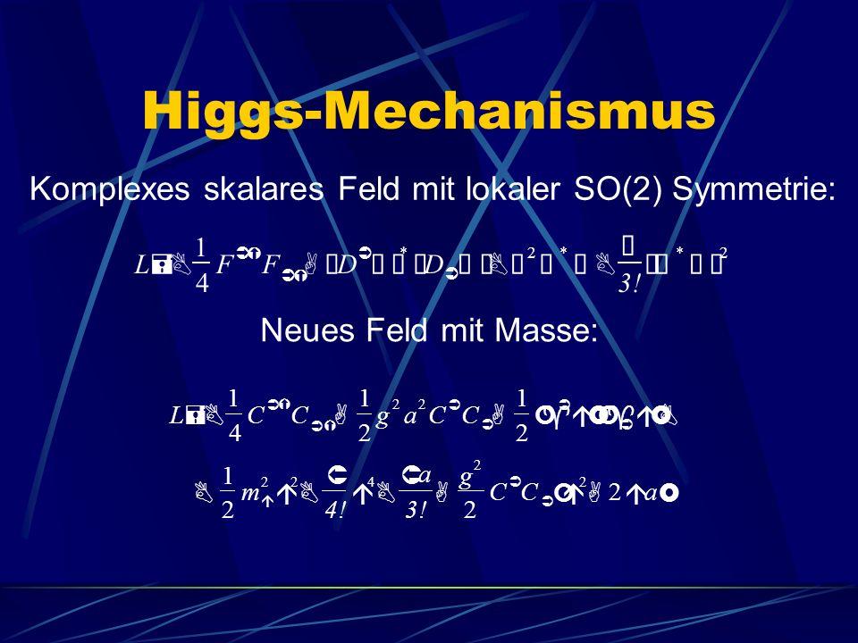 Higgs-Mechanismus Komplexes skalares Feld mit lokaler SO(2) Symmetrie: L =B 1 4 F ÜÝ F ÜÝ A¢ D Ü å£ * ¢ D Ü å£BÜ 2 å * åB Û 3.