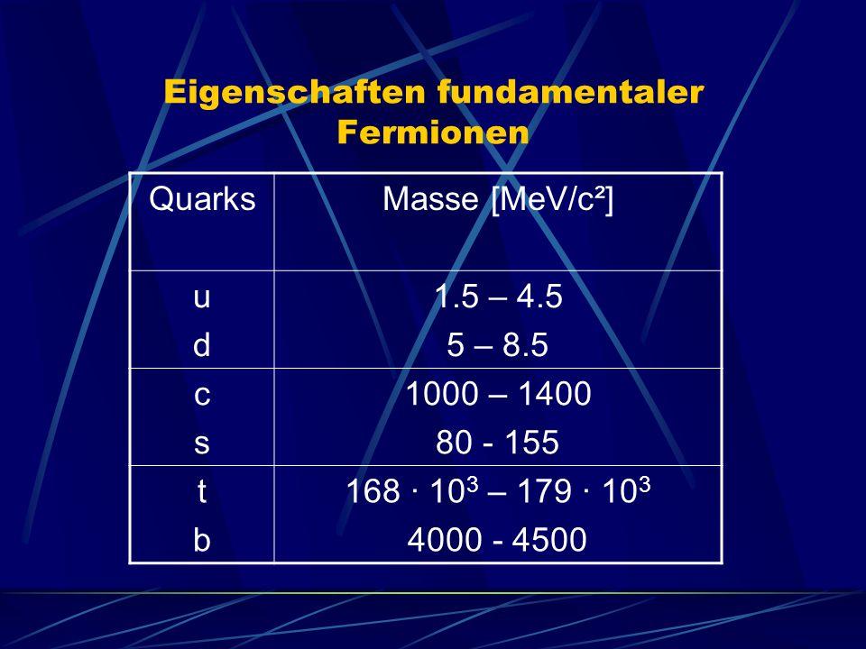 Eigenschaften fundamentaler Fermionen QuarksMasse [MeV/c²] udud 1.5 – 4.5 5 – 8.5 cscs 1000 – 1400 80 - 155 tbtb 168 · 10 3 – 179 · 10 3 4000 - 4500