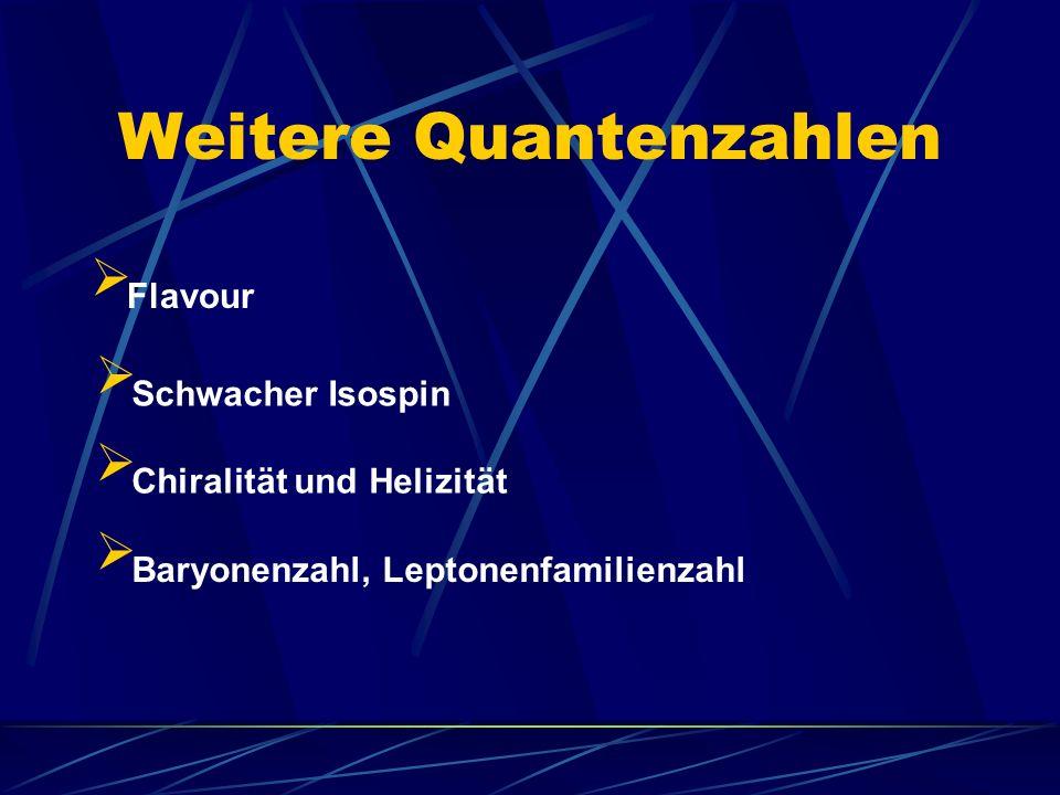 Weitere Quantenzahlen Flavour Schwacher Isospin Baryonenzahl, Leptonenfamilienzahl Chiralität und Helizität