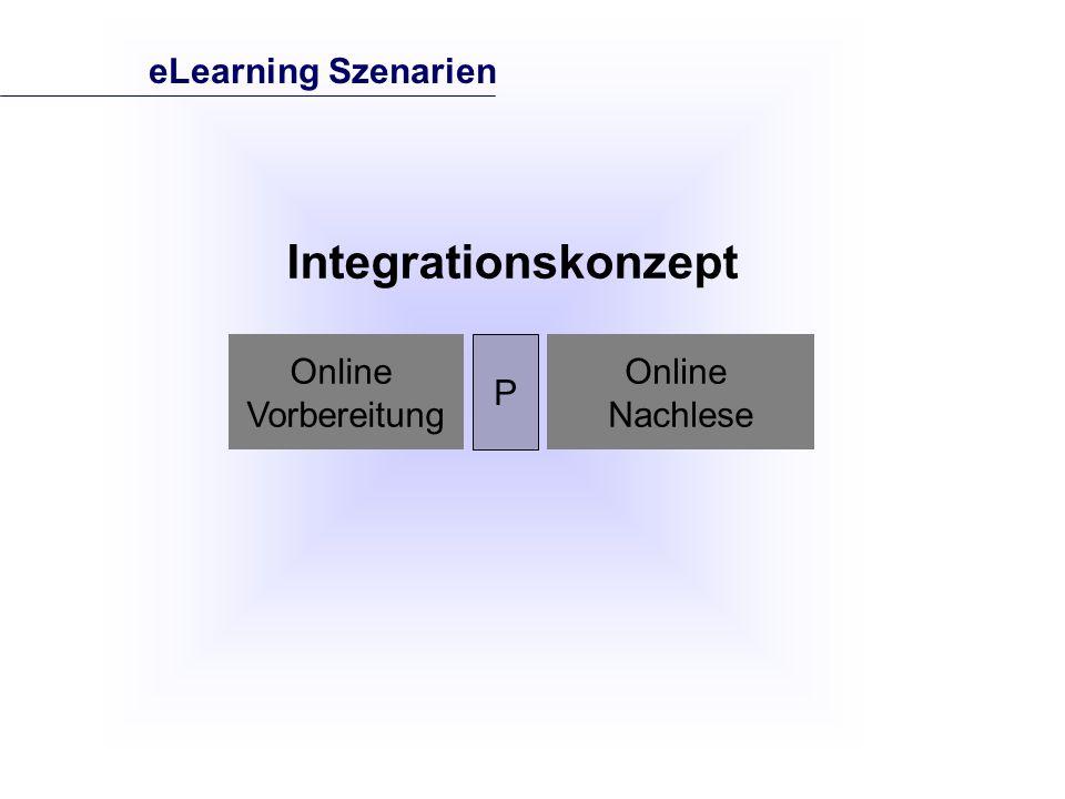 Online Vorbereitung P Online Nachlese Integrationskonzept eLearning Szenarien