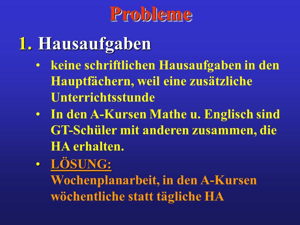 ProblemeProbleme 1. Hausaufgaben keine schriftlichen Hausaufgaben in den Hauptfächern, weil eine zusätzliche Unterrichtsstunde In den A-Kursen Mathe u