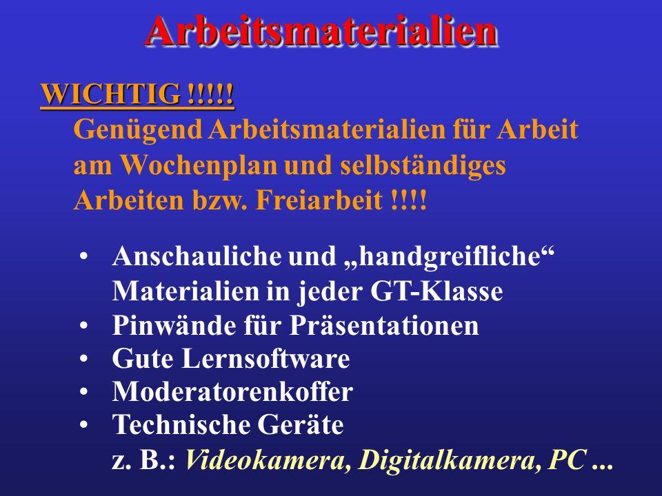 ArbeitsmaterialienArbeitsmaterialien WICHTIG !!!!! WICHTIG !!!!! Genügend Arbeitsmaterialien für Arbeit am Wochenplan und selbständiges Arbeiten bzw.