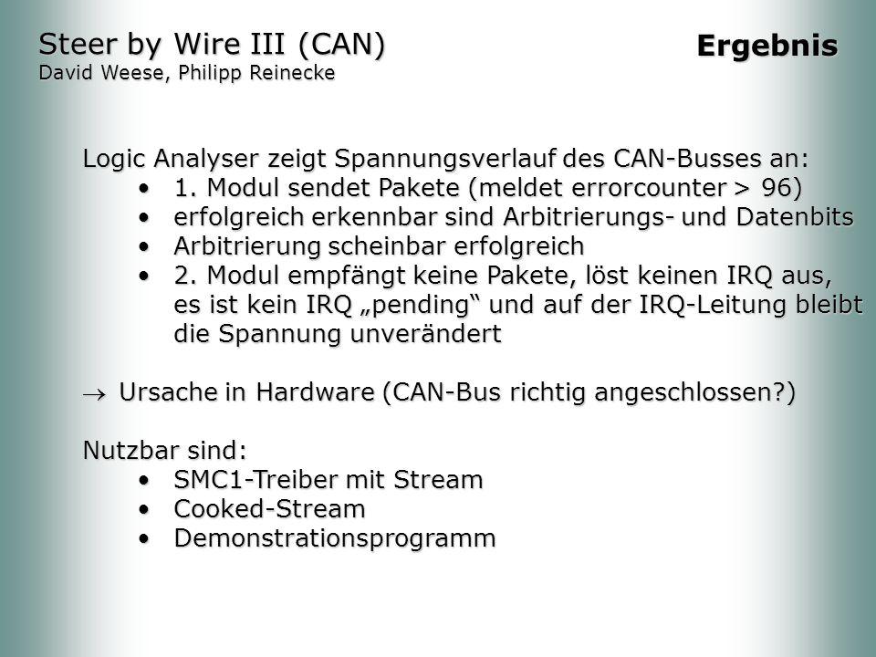 Logic Analyser zeigt Spannungsverlauf des CAN-Busses an: 1.