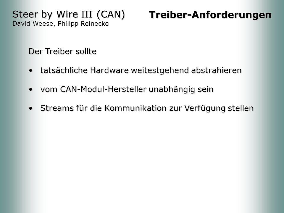 Steer by Wire III (CAN) David Weese, Philipp Reinecke Treiber-Anforderungen Der Treiber sollte tatsächliche Hardware weitestgehend abstrahierentatsächliche Hardware weitestgehend abstrahieren vom CAN-Modul-Hersteller unabhängig seinvom CAN-Modul-Hersteller unabhängig sein Streams für die Kommunikation zur Verfügung stellenStreams für die Kommunikation zur Verfügung stellen