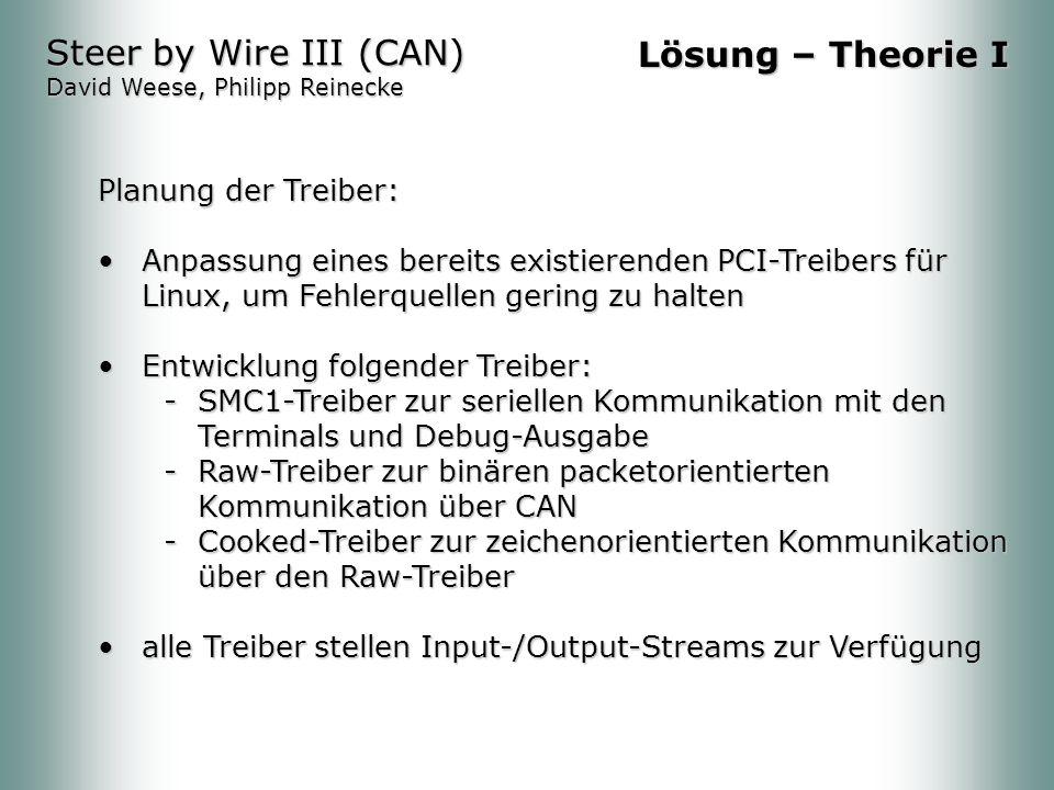 Steer by Wire III (CAN) David Weese, Philipp Reinecke Lösung – Theorie I Planung der Treiber: Anpassung eines bereits existierenden PCI-Treibers für Linux, um Fehlerquellen gering zu haltenAnpassung eines bereits existierenden PCI-Treibers für Linux, um Fehlerquellen gering zu halten Entwicklung folgender Treiber:Entwicklung folgender Treiber: -SMC1-Treiber zur seriellen Kommunikation mit den Terminals und Debug-Ausgabe -Raw-Treiber zur binären packetorientierten Kommunikation über CAN -Cooked-Treiber zur zeichenorientierten Kommunikation über den Raw-Treiber alle Treiber stellen Input-/Output-Streams zur Verfügungalle Treiber stellen Input-/Output-Streams zur Verfügung