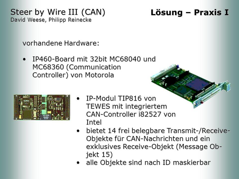 vorhandene Hardware: IP460-Board mit 32bit MC68040 und MC68360 (Communication Controller) von MotorolaIP460-Board mit 32bit MC68040 und MC68360 (Communication Controller) von Motorola Steer by Wire III (CAN) David Weese, Philipp Reinecke Lösung – Praxis I IP-Modul TIP816 von TEWES mit integriertem CAN-Controller i82527 von IntelIP-Modul TIP816 von TEWES mit integriertem CAN-Controller i82527 von Intel bietet 14 frei belegbare Transmit-/Receive- Objekte für CAN-Nachrichten und ein exklusives Receive-Objekt (Message Ob- jekt 15)bietet 14 frei belegbare Transmit-/Receive- Objekte für CAN-Nachrichten und ein exklusives Receive-Objekt (Message Ob- jekt 15) alle Objekte sind nach ID maskierbaralle Objekte sind nach ID maskierbar