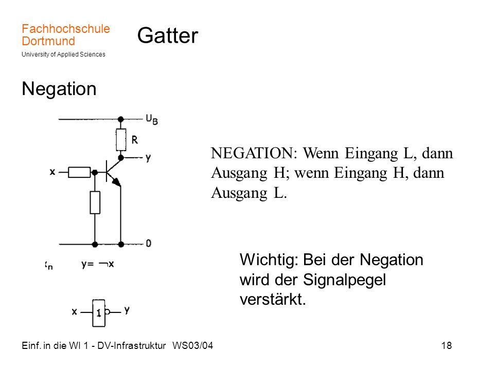 Fachhochschule Dortmund University of Applied Sciences Einf. in die WI 1 - DV-Infrastruktur WS03/0418 Gatter Negation NEGATION: Wenn Eingang L, dann A