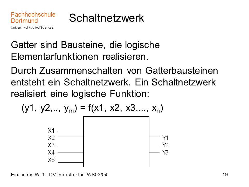 Fachhochschule Dortmund University of Applied Sciences Einf. in die WI 1 - DV-Infrastruktur WS03/0419 Schaltnetzwerk Gatter sind Bausteine, die logisc