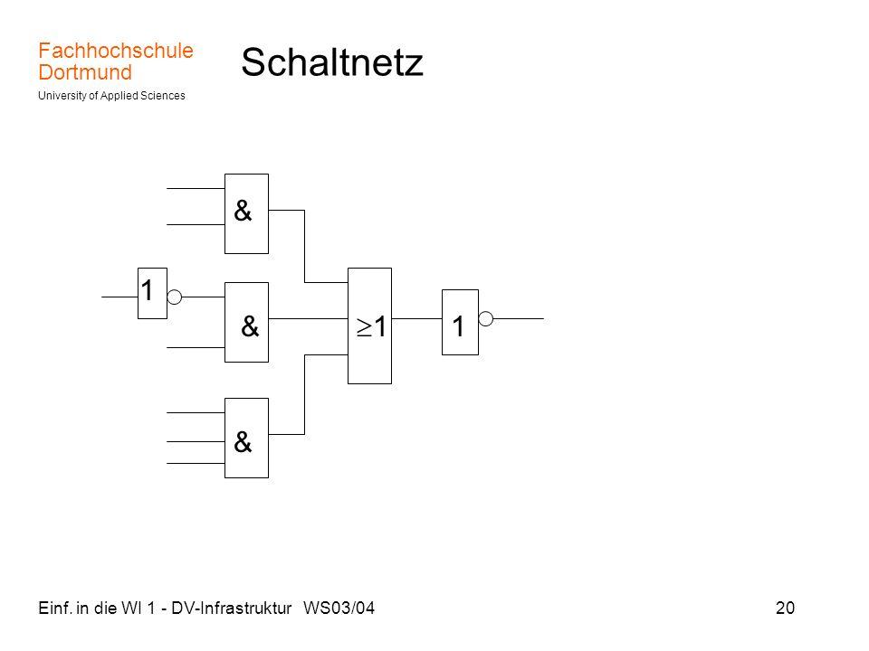 Fachhochschule Dortmund University of Applied Sciences Einf. in die WI 1 - DV-Infrastruktur WS03/0420 Schaltnetz & & & 1 1 1