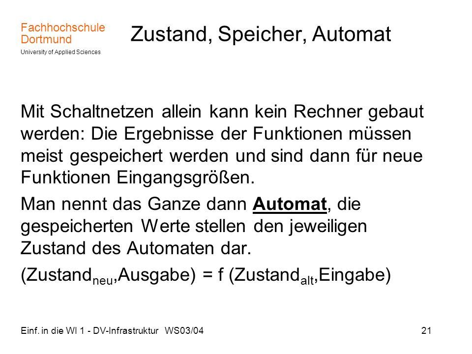 Fachhochschule Dortmund University of Applied Sciences Einf. in die WI 1 - DV-Infrastruktur WS03/0421 Zustand, Speicher, Automat Mit Schaltnetzen alle