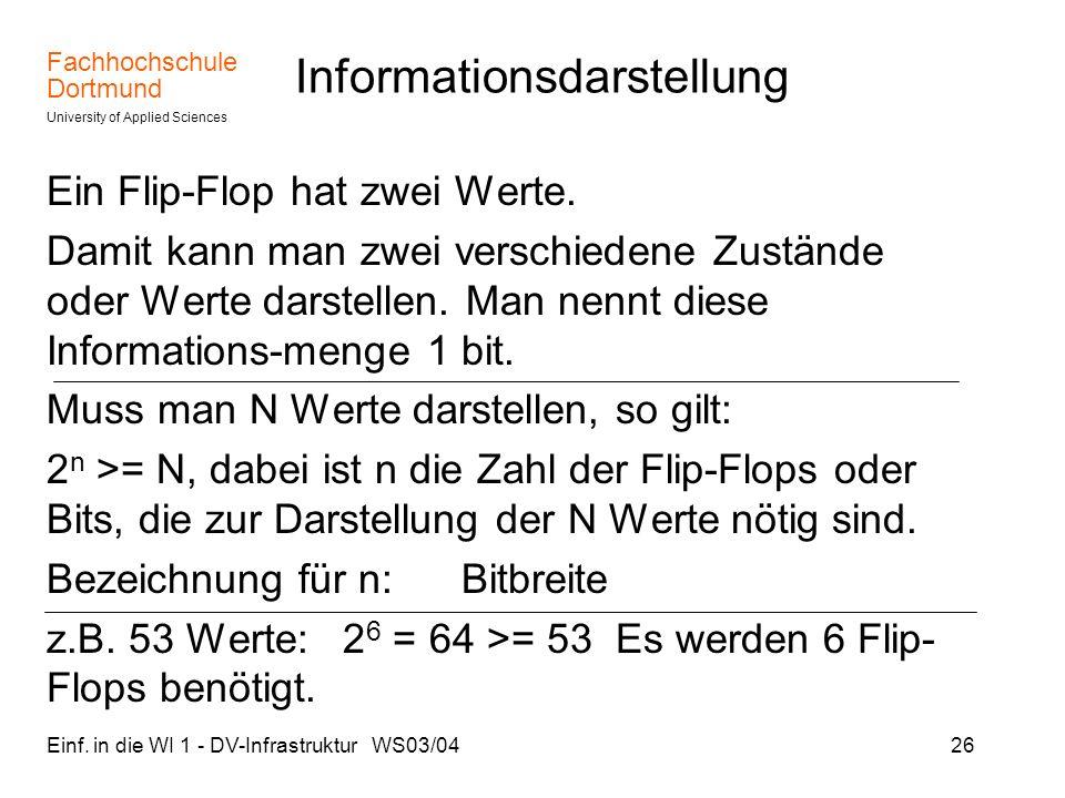 Fachhochschule Dortmund University of Applied Sciences Einf. in die WI 1 - DV-Infrastruktur WS03/0426 Informationsdarstellung Ein Flip-Flop hat zwei W