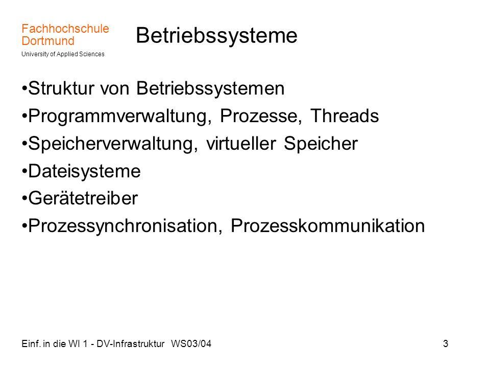 Fachhochschule Dortmund University of Applied Sciences Einf. in die WI 1 - DV-Infrastruktur WS03/043 Betriebssysteme Struktur von Betriebssystemen Pro