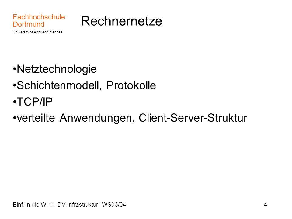 Fachhochschule Dortmund University of Applied Sciences Einf. in die WI 1 - DV-Infrastruktur WS03/044 Rechnernetze Netztechnologie Schichtenmodell, Pro