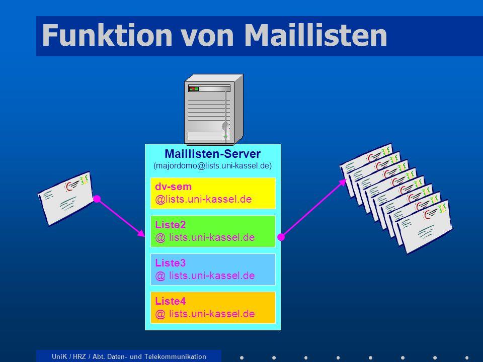 UniK / HRZ / Abt. Daten- und Telekommunikation Funktion von Maillisten Maillisten-Server (majordomo@lists.uni-kassel.de) dv-sem @lists.uni-kassel.de L