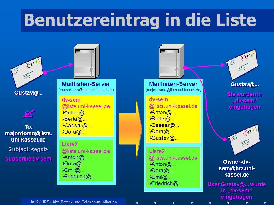 UniK / HRZ / Abt. Daten- und Telekommunikation Benutzereintrag in die Liste Maillisten-Server (majordomo@lists.uni-kassel.de) dv-sem @lists.uni-kassel