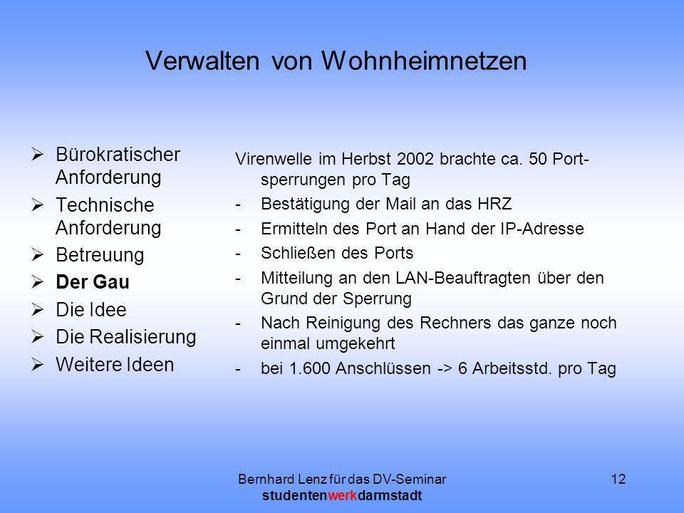 Bernhard Lenz für das DV-Seminar studentenwerkdarmstadt 12 Verwalten von Wohnheimnetzen Bürokratischer Anforderung Technische Anforderung Betreuung De