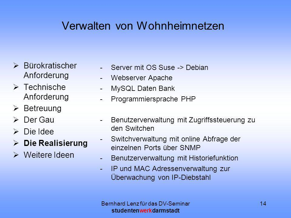 Bernhard Lenz für das DV-Seminar studentenwerkdarmstadt 14 Verwalten von Wohnheimnetzen Bürokratischer Anforderung Technische Anforderung Betreuung De