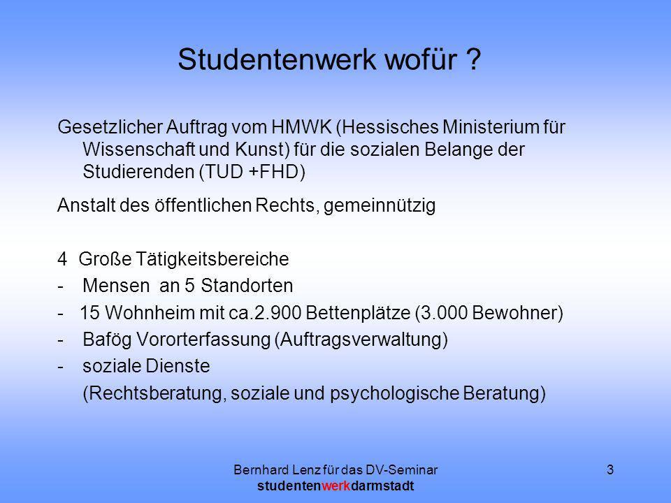 Bernhard Lenz für das DV-Seminar studentenwerkdarmstadt 3 Studentenwerk wofür ? Gesetzlicher Auftrag vom HMWK (Hessisches Ministerium für Wissenschaft