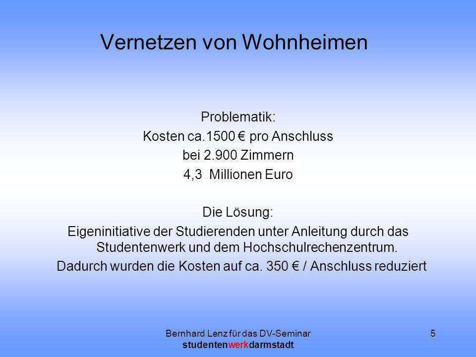 Bernhard Lenz für das DV-Seminar studentenwerkdarmstadt 5 Vernetzen von Wohnheimen Problematik: Kosten ca.1500 pro Anschluss bei 2.900 Zimmern 4,3 Mil