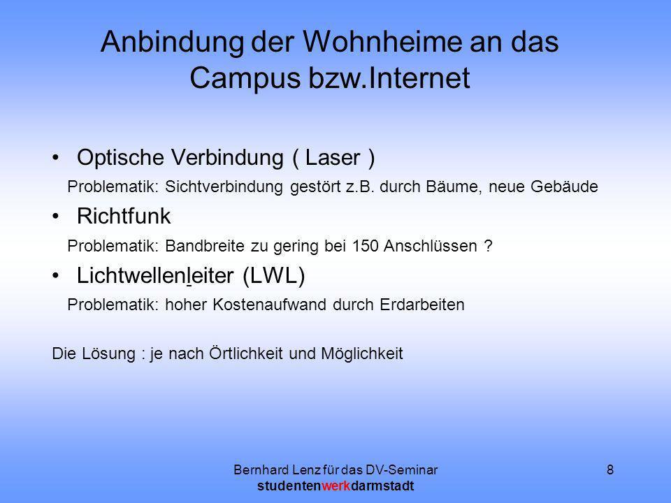 Bernhard Lenz für das DV-Seminar studentenwerkdarmstadt 8 Anbindung der Wohnheime an das Campus bzw.Internet Optische Verbindung ( Laser ) Problematik