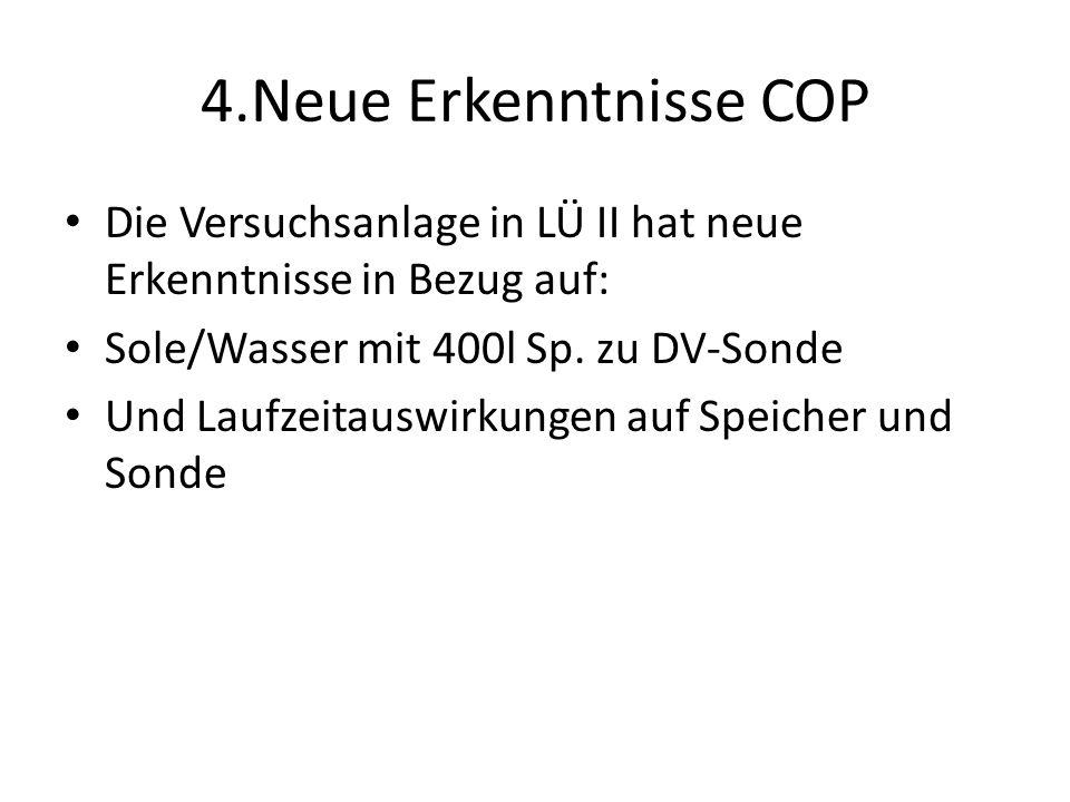 4.Neue Erkenntnisse COP Die Versuchsanlage in LÜ II hat neue Erkenntnisse in Bezug auf: Sole/Wasser mit 400l Sp. zu DV-Sonde Und Laufzeitauswirkungen