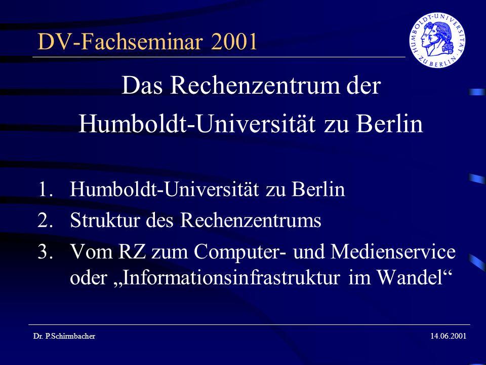 Dr. P.Schirmbacher14.06.2001 DV-Fachseminar 2001 Das Rechenzentrum der Humboldt-Universität zu Berlin 1.Humboldt-Universität zu Berlin 2.Struktur des