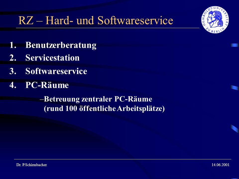Dr. P.Schirmbacher14.06.2001 RZ – Hard- und Softwareservice 1.Benutzerberatung 2.Servicestation 3.Softwareservice 4.PC-Räume –Betreuung zentraler PC-R