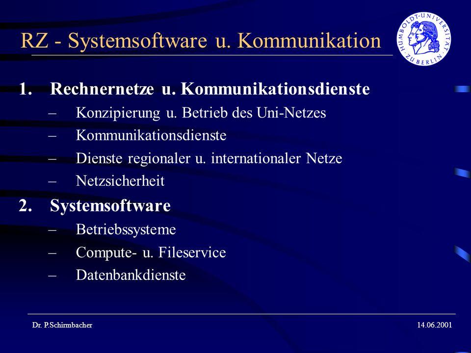 Dr. P.Schirmbacher14.06.2001 RZ - Systemsoftware u. Kommunikation 1.Rechnernetze u. Kommunikationsdienste –Konzipierung u. Betrieb des Uni-Netzes –Kom