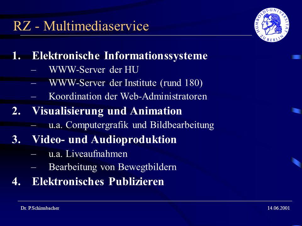 Dr. P.Schirmbacher14.06.2001 RZ - Multimediaservice 1.Elektronische Informationssysteme –WWW-Server der HU –WWW-Server der Institute (rund 180) –Koord