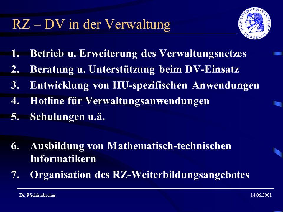 Dr. P.Schirmbacher14.06.2001 RZ – DV in der Verwaltung 1.Betrieb u. Erweiterung des Verwaltungsnetzes 2.Beratung u. Unterstützung beim DV-Einsatz 3.En