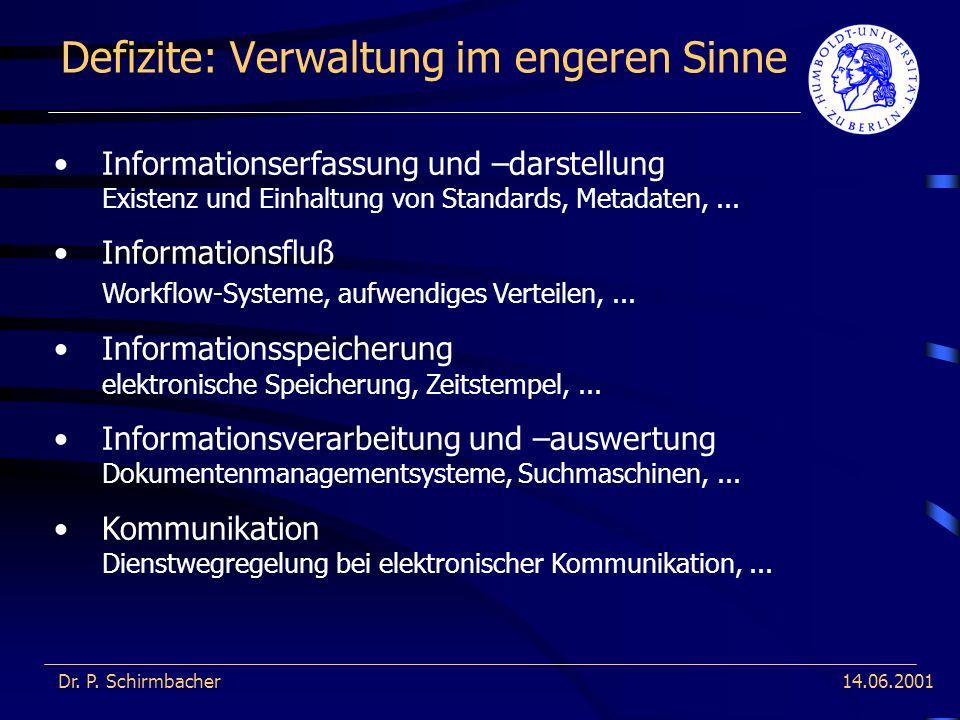 14.06.2001 Defizite: Verwaltung im engeren Sinne Dr. P. Schirmbacher Informationserfassung und –darstellung Existenz und Einhaltung von Standards, Met