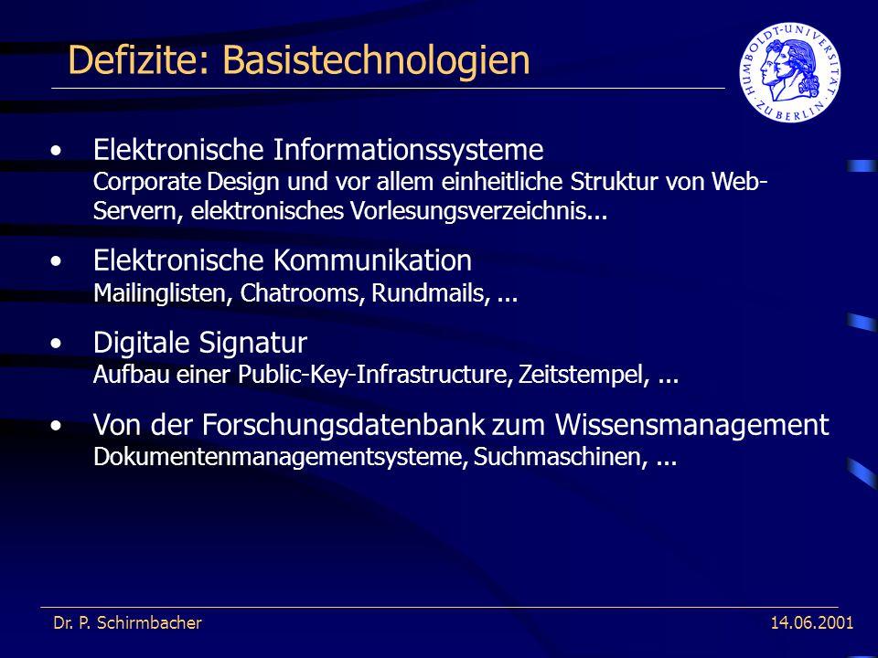 14.06.2001 Defizite: Basistechnologien Dr. P. Schirmbacher Elektronische Informationssysteme Corporate Design und vor allem einheitliche Struktur von