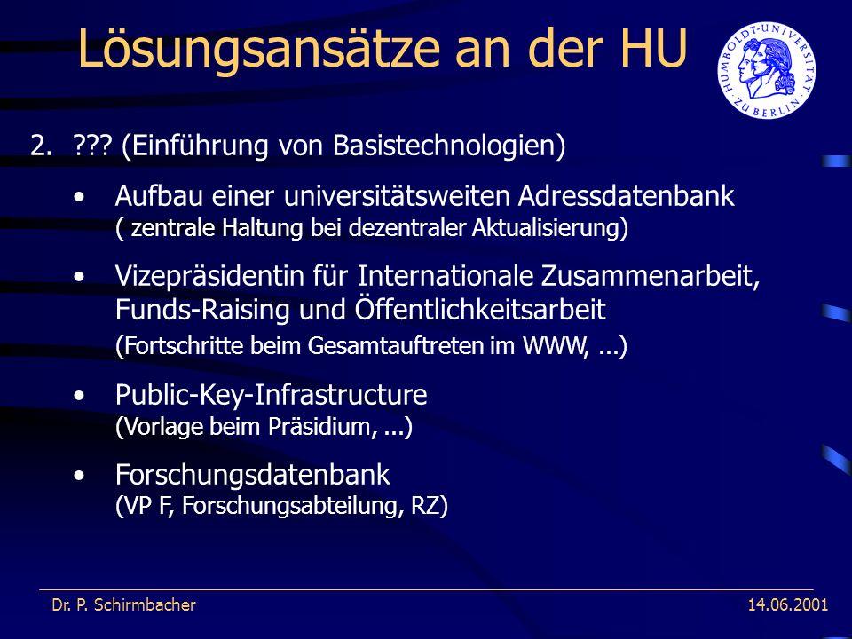 14.06.2001 Lösungsansätze an der HU Dr. P. Schirmbacher 2.??? (Einführung von Basistechnologien) Aufbau einer universitätsweiten Adressdatenbank ( zen