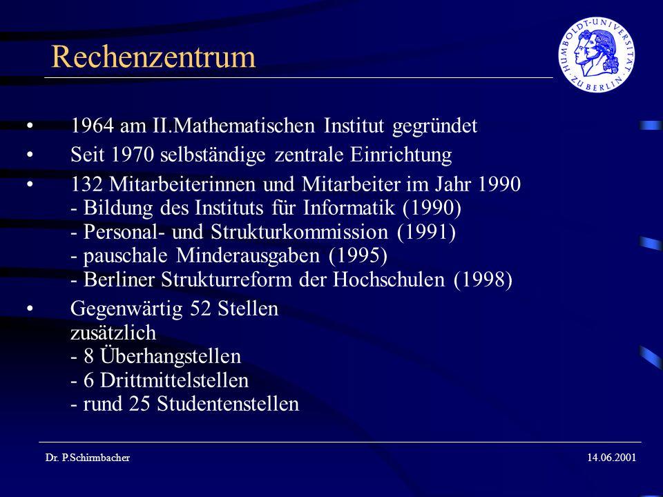 Dr. P.Schirmbacher14.06.2001 Rechenzentrum 1964 am II.Mathematischen Institut gegründet Seit 1970 selbständige zentrale Einrichtung 132 Mitarbeiterinn