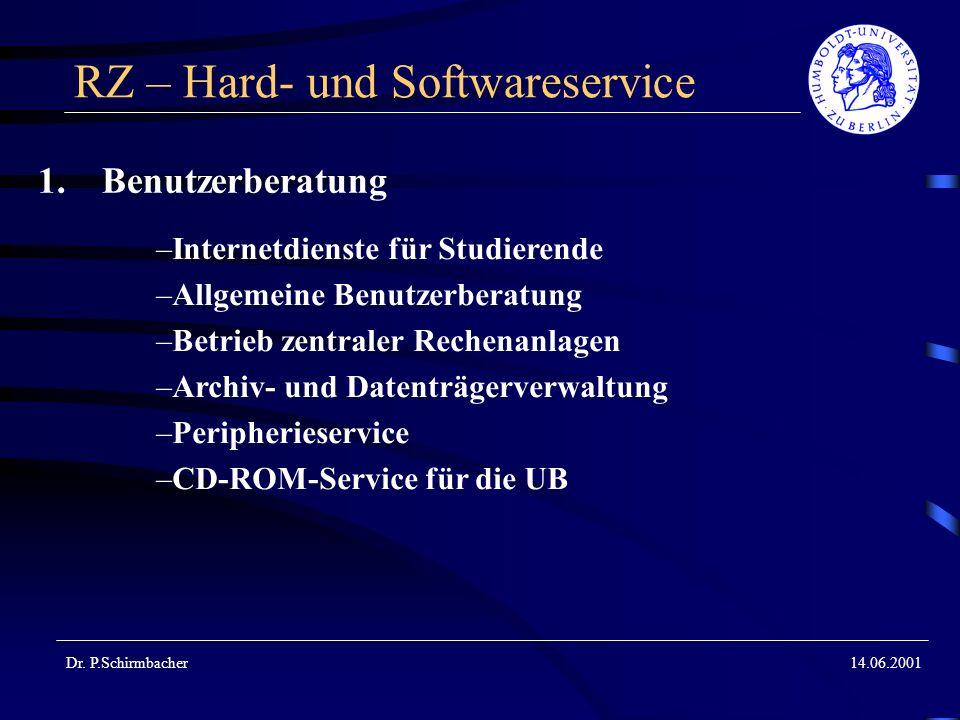 Dr. P.Schirmbacher14.06.2001 RZ – Hard- und Softwareservice 1.Benutzerberatung –Internetdienste für Studierende –Allgemeine Benutzerberatung –Betrieb