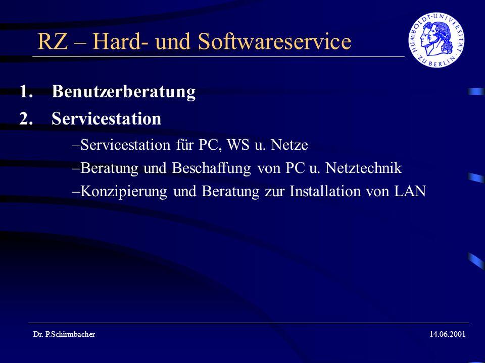 Dr. P.Schirmbacher14.06.2001 RZ – Hard- und Softwareservice 1.Benutzerberatung 2.Servicestation –Servicestation für PC, WS u. Netze –Beratung und Besc