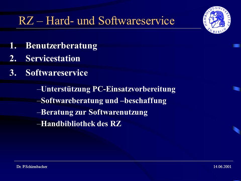 Dr. P.Schirmbacher14.06.2001 RZ – Hard- und Softwareservice 1.Benutzerberatung 2.Servicestation 3.Softwareservice –Unterstützung PC-Einsatzvorbereitun