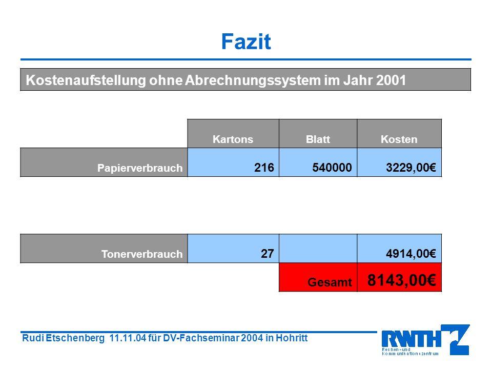 Rudi Etschenberg 11.11.04 für DV-Fachseminar 2004 in Hohritt Fazit Kostenaufstellung ohne Abrechnungssystem im Jahr 2001 KartonsBlattKosten Papierverbrauch 2165400003229,00 Tonerverbrauch 27 4914,00 Gesamt 8143,00