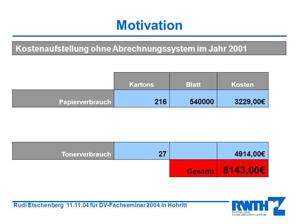 Rudi Etschenberg 11.11.04 für DV-Fachseminar 2004 in Hohritt Druckabrechnungssystem im CIP-Pool Motivation Die Hardware Funktion des Systems Serveradministration Was ändert sich für den Benutzer.