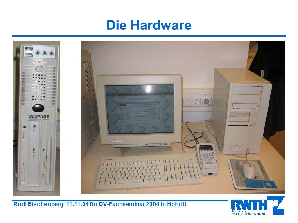 Rudi Etschenberg 11.11.04 für DV-Fachseminar 2004 in Hohritt Die Hardware Magnetkarte Kartenautomat Belegdrucker