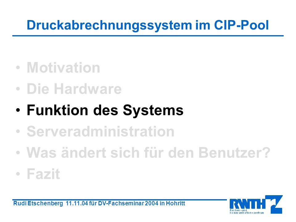 Rudi Etschenberg 11.11.04 für DV-Fachseminar 2004 in Hohritt Der Druckvorgang Druckerterminal Client PC Server Drucker Kartenleser